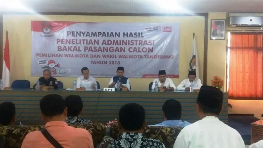 Komisi Pemilihan Umum (KPU) Kota Tangerang menyampaikan hasil tes kesehatan dan penelitian administrasi bakal pasangan calon Walikota dan Wakil Walikota Tangerang