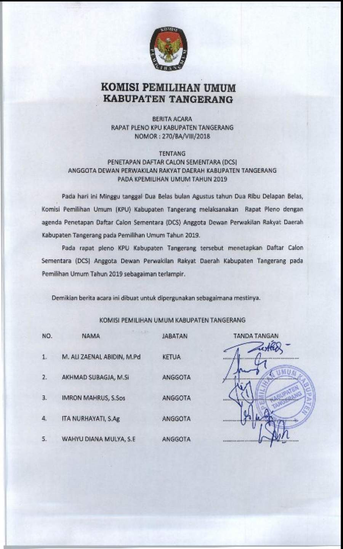DCS HASIL PLENO DPRD TANGERANG PEMILU 2019