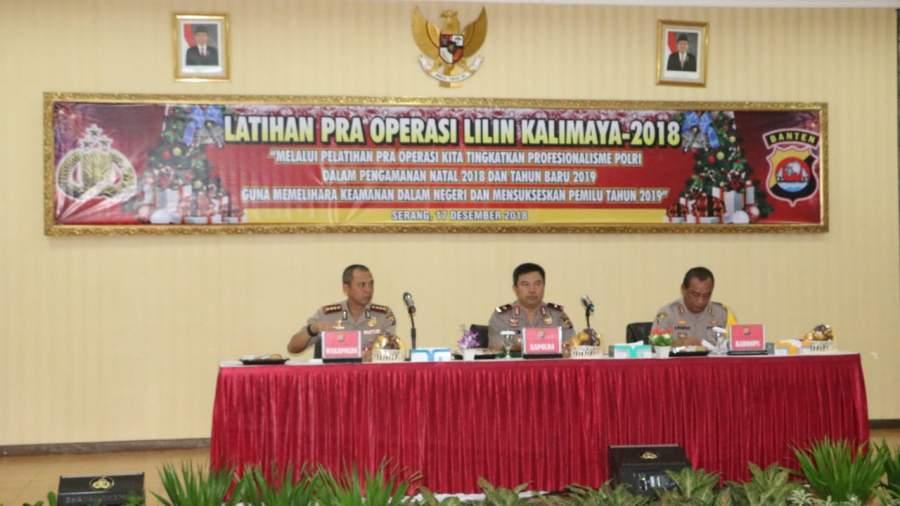 Kapolda Banten Pimpin Langsung kegiatan Latihan Pra Operasi Lilin Kalimaya 2018