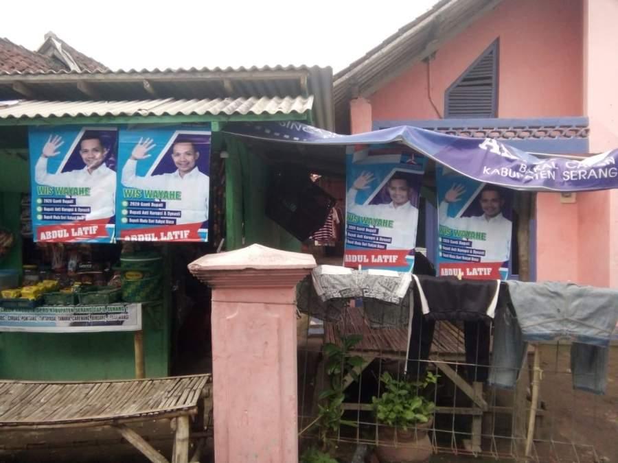 Pilbup Serang, Abdul Latif Tebar Spanduk dan Baner di Wilayah Kabupaten Serang