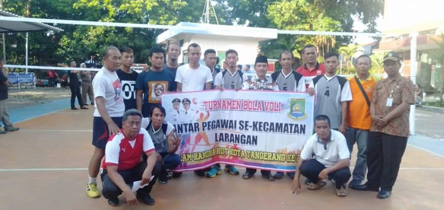 Meriahkan HUT Kota Tangerang Ke-27, Pegawai Kecamatan Larangan Gelar Turnamen Volly