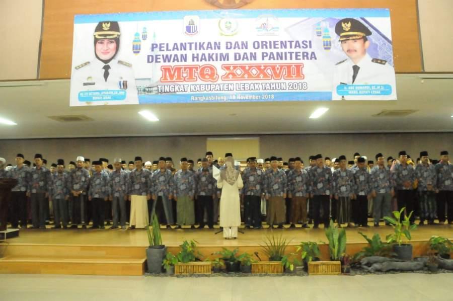 Bupati Lebak Lantik Dewan Hakim dan Panitera MTQ XXXVII Tingkat Kabupaten